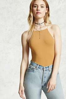 FOREVER 21 MUSTARD YELLOW CAMI BODYSUIT