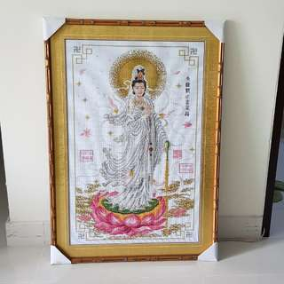 New hand made cross stitch image of Dripping Guanyin (滴水观音)