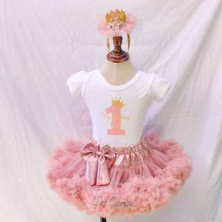 3Layered blush pink Pettiskirt | Customized onesie  | crown