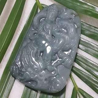 ⭐Pendant GradeA Myanmar Jade [骑龙观音]
