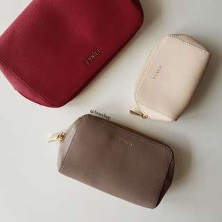 Authentic Furla 3 in 1 Leather Zip Pouch
