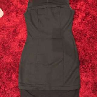 Cue Size 8 black dress. Sheer panels