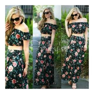 Floral Off-shoulder Crop Top and Skirt Set
