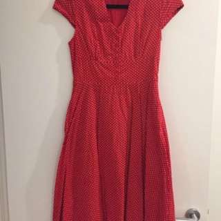 Lindy bop red polka dot dress size 8 pin up