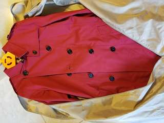 Burberry童裝大人紅色cotton乾濕褸#4009498
