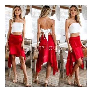 Tie-knot Top and High-low Skirt Set