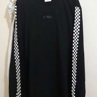 Black Youth Checker Long Sleeve T-shirt
