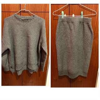 轉賣 全新 EBO_KR 超好看SET 挺版粗針織衣+超修飾屁屁小開岔裙 灰色 套裝