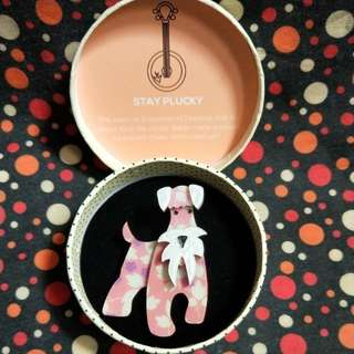 Pink and white Schnauzer German Dog brooch pin