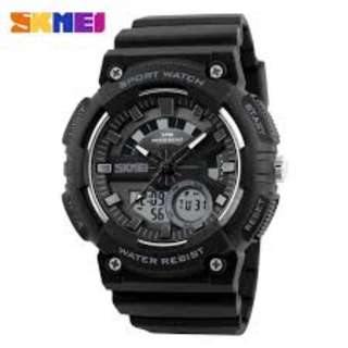 SKMEI AD1235 BLACK RUBBER STRAP WATCH FOR MEN - COD FREE SHIPPING