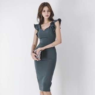 V Neck Cold Shoulder Bodycon Midi Dress