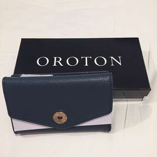 Oroton Melanie high fold navy wallet NEW RRP $225