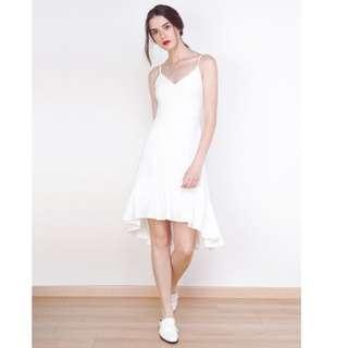 BNIB Willow Label Kayley Mermaid Hem Dress White