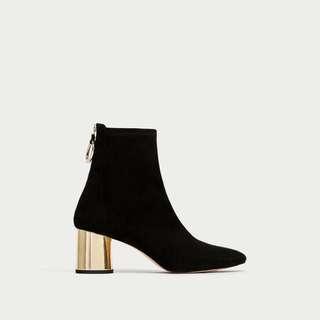 Brand new zara suede heeled boots