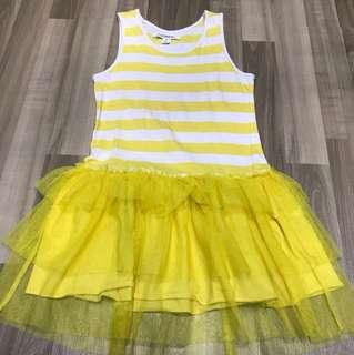Yellow stripes tutu dress