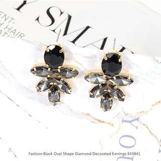 Fashion Black Oval Shape Diamond Decorated Earrings E43841