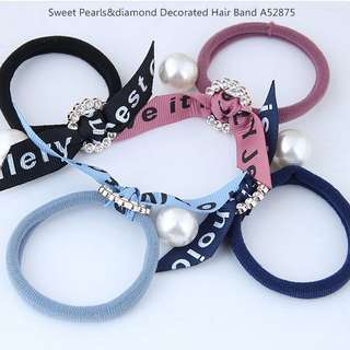 Sweet Pearls&diamond Decorated Hair Band A52875