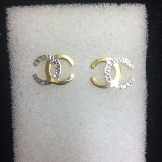 14K Two Tone Chanel Earrings 1.8g