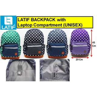 INSTOCK] LATIF BACKPACK (UNISEX) SCHOOL / CASUAL / OUTDOOR / TRAVEL