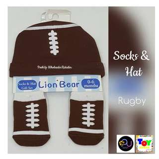 Lion Bear Socks and Hat Rugby