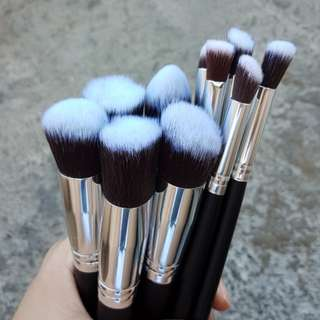10pcs Brush Set in Black and Silver