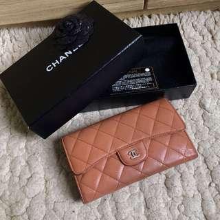 Chanel Caviar long wallet 荔枝皮三折長銀包