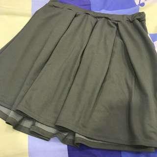 Boohoo Khaki Full Circle Skater Skirt