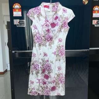 Cheongsam white and purple
