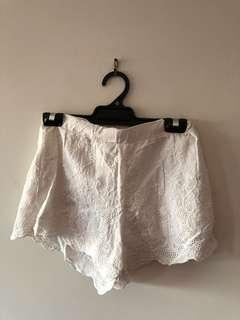 White Lace Linen Shorts