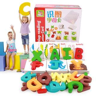 Wood Map Picture Reading Letter Card Educational Toy