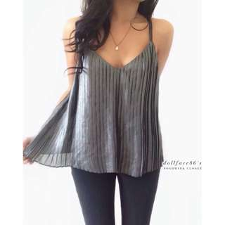 Topshop metallic gold pleated cami top blouse