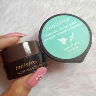 INNISFREE SUPER VOLCANIC CLAY MASK 10 ML & INNISFREE CAPSULE RECIPE PACK BIJA TEA TREE