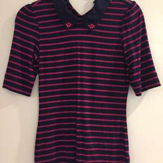 Review navy and pink stripe top size 6