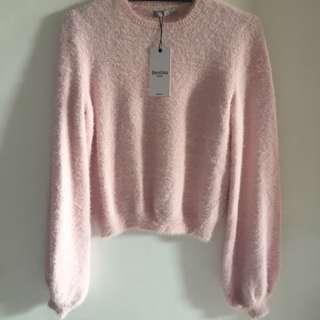 Bershka Pink Knitted Furry Sweater
