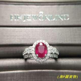 HKJ~18K白金紅寶戒指