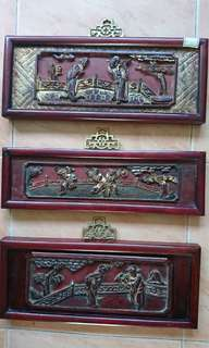 Framed antique wood carving $70ea
