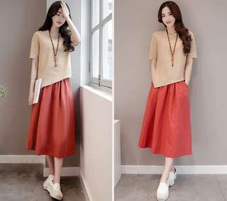 (M - 2XL) 2pc Blouse and Skirt Set