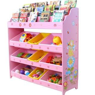 Little Fairy cartoon Pink Toy storage rack books