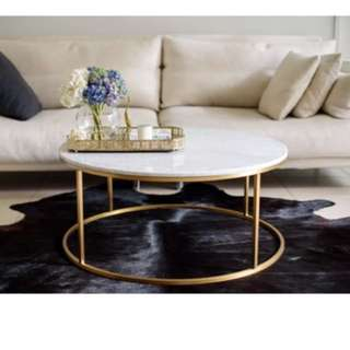 Brand New Carrara Marble Gold Round Coffee Table
