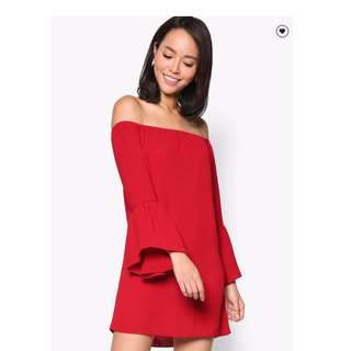 Something Borrowed red off shoulder flare sleeve dress size medium used once only