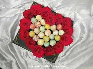Heart shaped strawberry flower box
