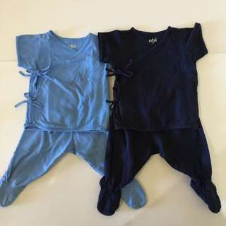 2 Pairs Side Tie Pajamas with Footed Pants