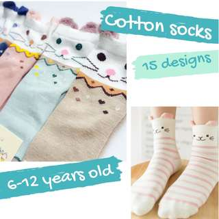Cute Cotton Socks for Girls 6-12 years old - 15 designs (Mix & Match 5 for $10 + 1 FREE)