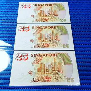 3X1996 Singapore 25th Anniversary of MAS $25 Commemorative Note 285415 - 285417 Run with Folder