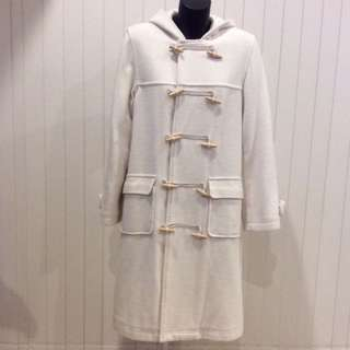 White Wool Blended Duffle Coat
