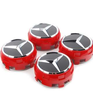 4pcs Mercedes Benz Wheel Center Caps, Red edition