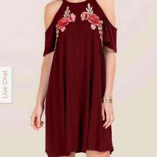 Cold Shoulder Embroidered Floral Dress