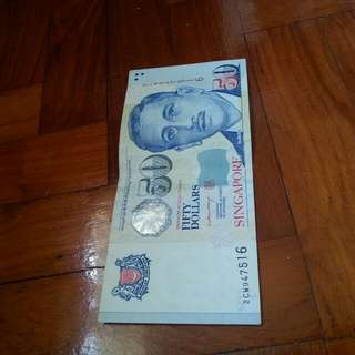 Print error,  portrait $50 LHL MAS note 1pcs.