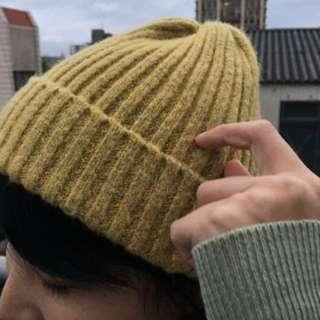 🚚 薑黃混織毛帽