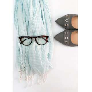 Scarf powder blue & white pinstriped with fringe